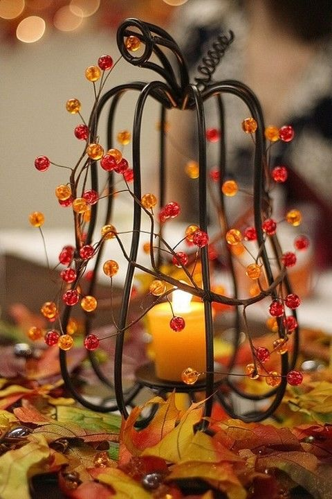 Fall-Wedding-Centerpieces-with-Candle